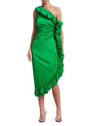 Attico One Shoulder Ruffle Dress - Green Dresses