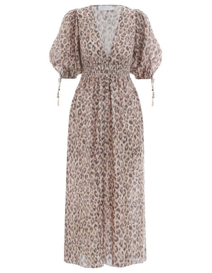Zimmermann Shirred Waist Dress in Leopard Dresses
