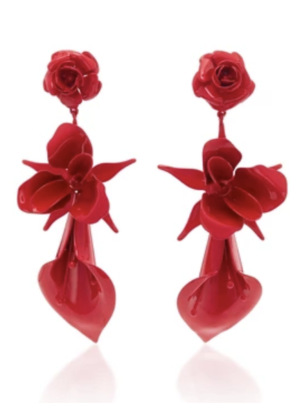 Jennifer Behr Red Flower Earrings Jewelry