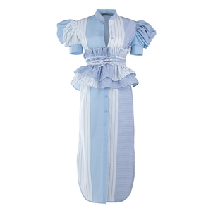 Silvia Tcherassi Puff Sleeve Cotton Dress with Belt Dresses