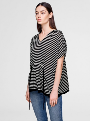 White + Warren Stripe Hoodie Poncho Activewear Sleepwear Tops
