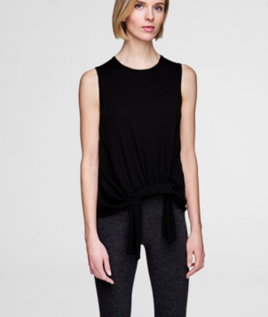 White + Warren Black Crew Tank w Knotted Front Tops
