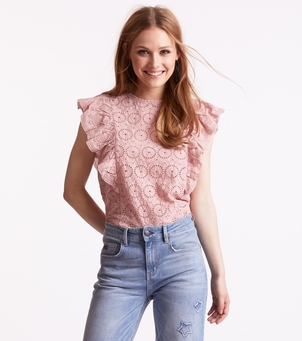 Odd Molly Side Kick Short Sleeve Blouse - Blush Tops