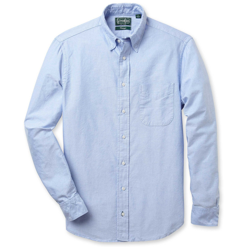 Gitman Vintage BLUE OXFORD WITH NO BUTTON DOWN COLLAR (Originally $149.50) Men's Sale