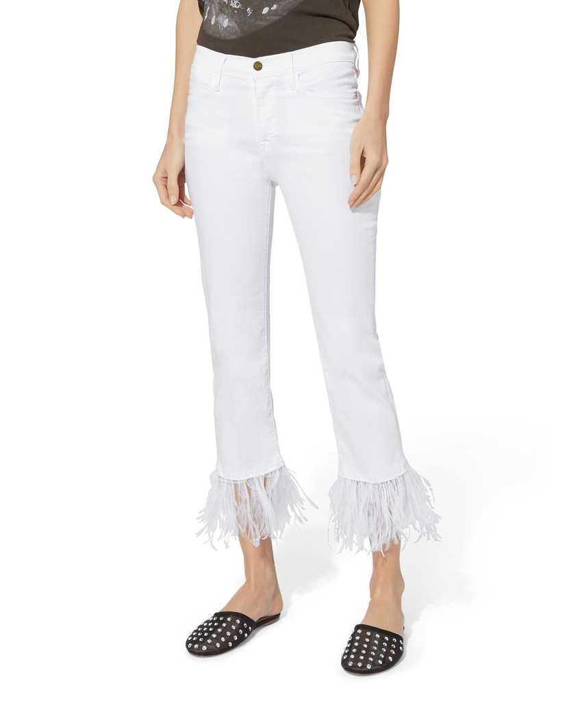 FRAME White Le High Feather Cropped Jeans Pants