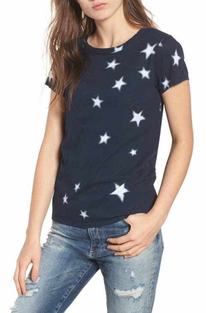 Pam & Gela Basic Tee - Navy / White Stars Tops