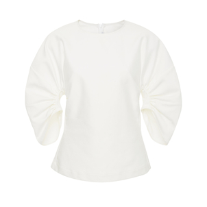 Rosetta Getty Gathered Sleeve Top Tops