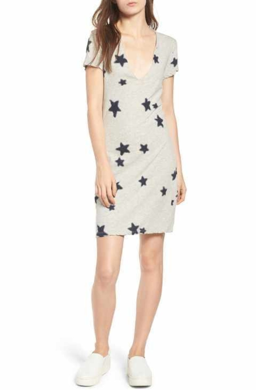 Pam & Gela Grey Knit Dress w/ Navy Stars Dresses
