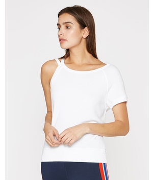 Pam & Gela Strappy One Shoulder Sweatshirt Tops