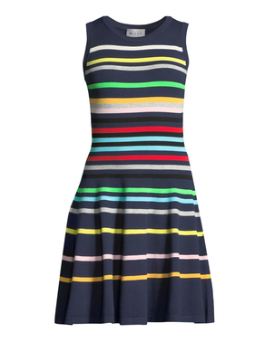 Milly Milly Striped Flare Knit Dress Dresses