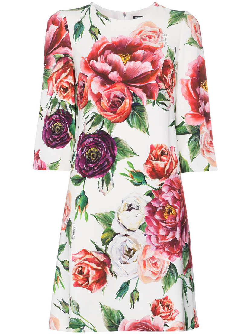 Dolce And Gabbana Silk Floral Print Dress Pw 42 House Account