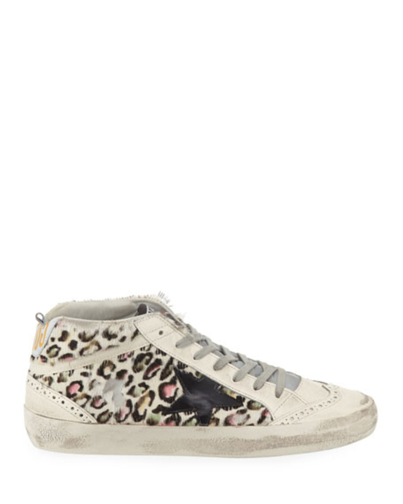 Golden Goose Deluxe Brand Leopard Mid-Star Sneakers Shoes