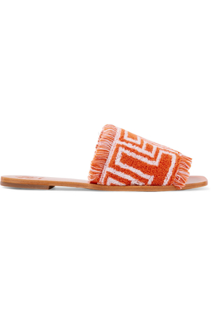 Tory Burch Tory Burch T-Logo Terry Cloth Slides Shoes