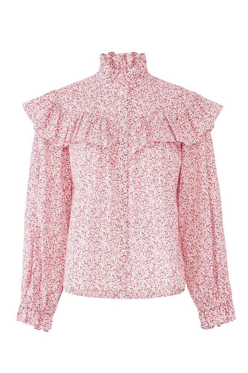 Loveshackfancy Erica Top in Pink Floral Tops