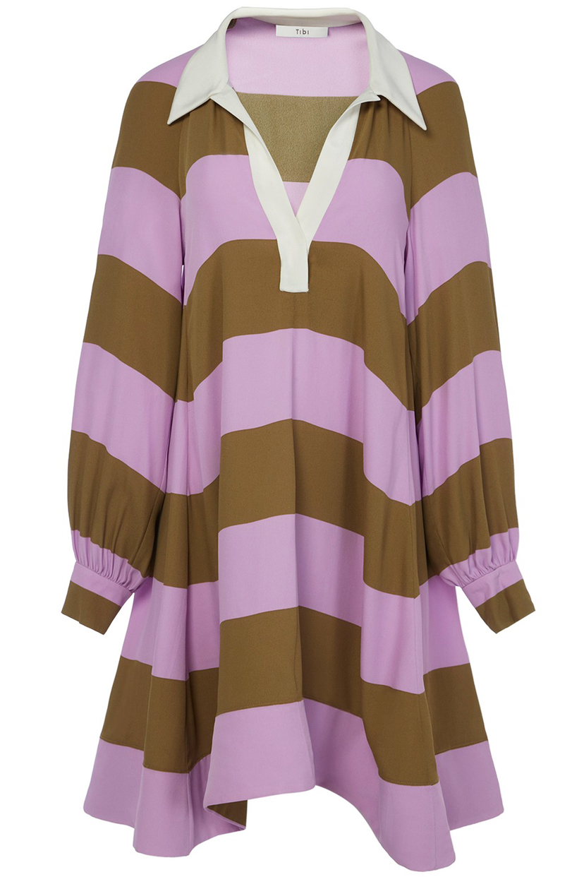 Tibi Rugby Shirtdress in Lavender Multi Dresses