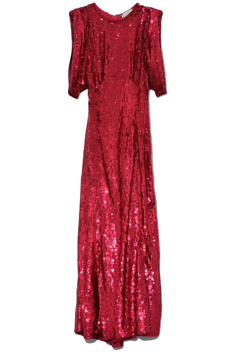 Attico Long Tulle Dress with All-Over Sequins in Red Dresses