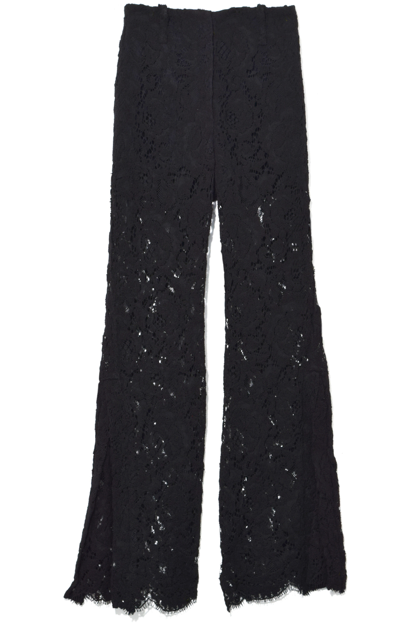 Proenza Schouler Flared Corded Lace Pants in Black Pants