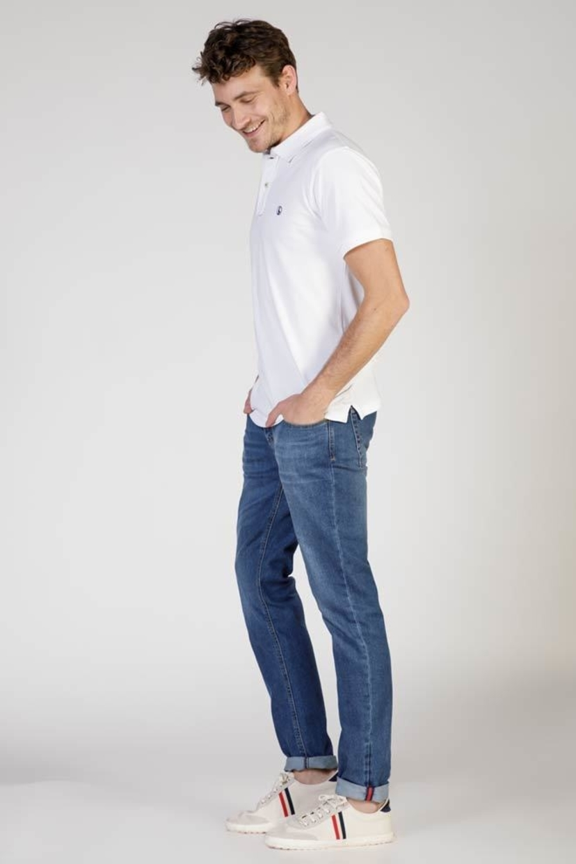 El Ganso Spain White Polo Shirt with Contrasting Placket Men's