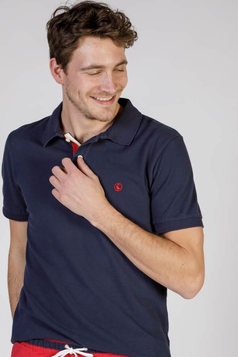 El Ganso Spain Navy Polo Shirt with Contrasting Placket Men's