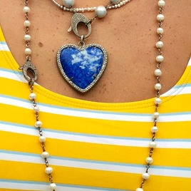 Pearl Necklace & Blue Heart Pendant Combo