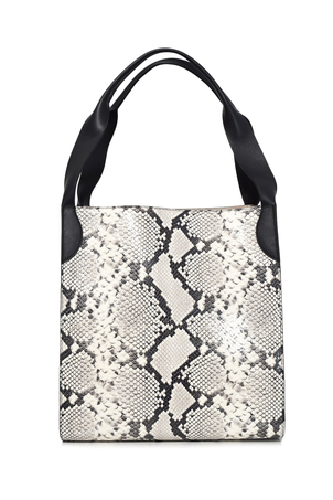 Rochas Printed Python Leather Tote in Medium Grey Bags