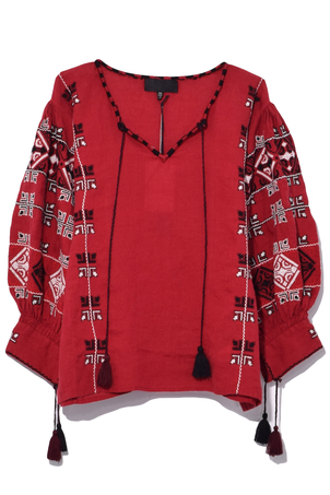 Nili Lotan Cleo Blouse in Red Tops