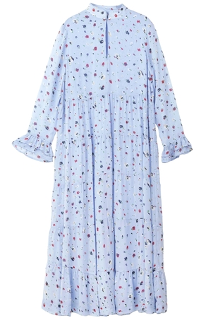 Ganni Dainty Georgette Long Sleeve Dress in Serenity Blue Dresses