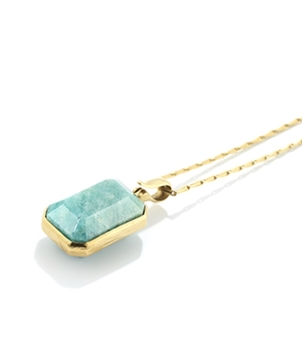 Goossens Paris Emerald cut Amazonite stone necklace Jewelry