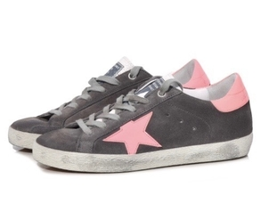Golden Goose Deluxe Brand GOLDEN GOOSE SUPERSTAR SNEAKERS GREY SUEDE CORAL Shoes