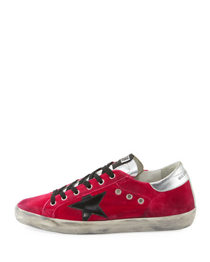 Golden Goose Deluxe Brand GOLDEN GOOSE SUPERSTARS FUXIA VELVET WITH BLACK STAR Shoes