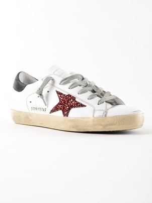 Golden Goose Deluxe Brand GOLDEN GOOSE SUPERSTARS WHITE BLACK RED GLITTER Shoes