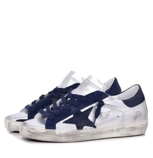 Golden Goose Deluxe Brand GOLDEN GOOSE SUPERSTARS LEATHER NAVY STAR Shoes