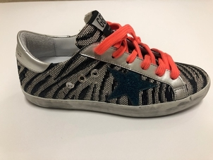 Golden Goose Deluxe Brand GOLDEN GOOSE SUPERSTARS ANIMAL CANVAS GLITTER STAR Shoes