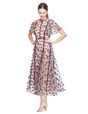 Lela Rose LELA ROSE FLUTTER SLEEVE FIT AND FLARE DRESS ORCHID MULTI Dresses