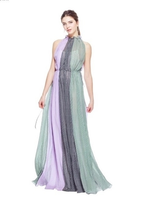 Lela Rose LELA ROSE HALTER NECK RUCHED GOWN MULTI Dresses