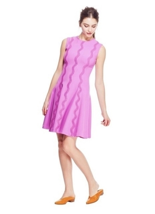 Lela Rose LELA ROSE WAVE TRIM DRESS ORCHID Dresses