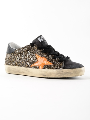 Golden Goose Deluxe Brand Golden Goose Superstars Black Gold Glitter w/Fluo star Shoes