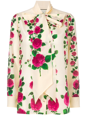 Gucci Rose-Printed Long Sleeve Tie Neck Blouse Tops