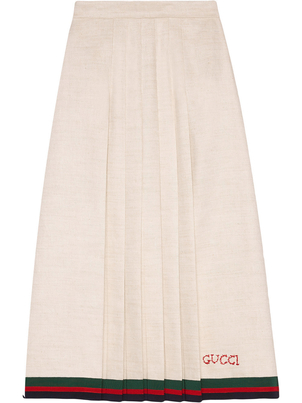 Gucci Pleated Embroidered Skirt Skirts