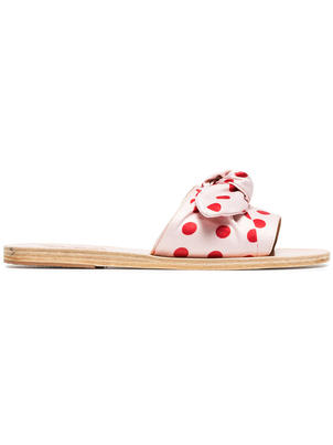 Ancient Greek Sandals Polka Dotted Taygete Bow Sandals Shoes