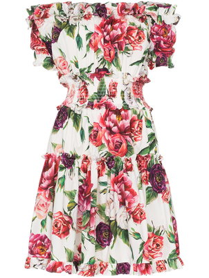 Dolce & Gabbana Off the Shoulder Peony Dress Dresses