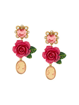 Dolce & Gabbana Rose Drop Earrings with Cameo Jewelry
