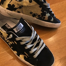 Golden Goose Black & Gold jacquard sneakers