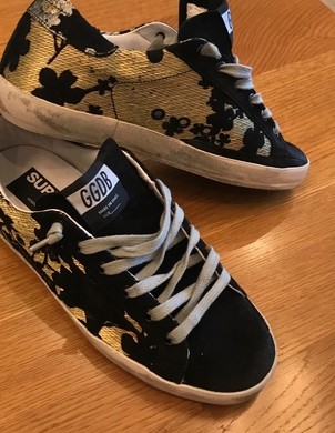 Golden Goose Deluxe Brand Golden Goose Black & Gold jacquard sneakers Shoes