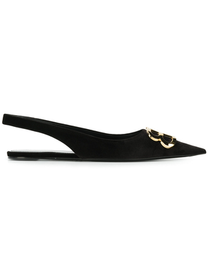 Balenciaga Velvet Flats with Gold Hardware Shoes