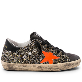 Sneakers Superstar - Black Gold Glitter - Fluo Star