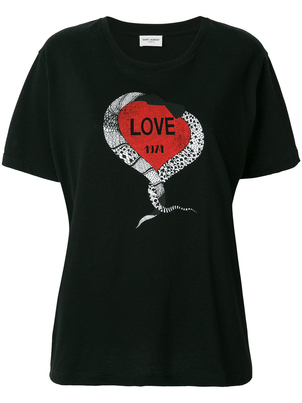 Saint Laurent Short Sleeve Heart Tee (Originally $450) Sale Tops