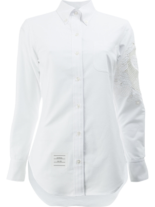 Thom Browne Long Sleeve Cotton Embroidered Shirt in White (Originally $750) Sale Tops