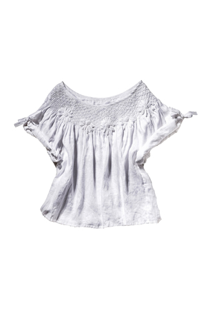 Innika Choo Linen Smocked Collar Top in White Tops