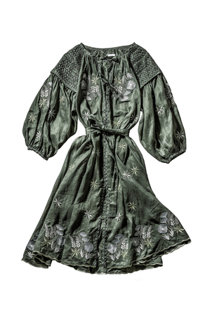 Innika Choo Long Sleeve Midi Embroidered Smock Dress in Green Dresses